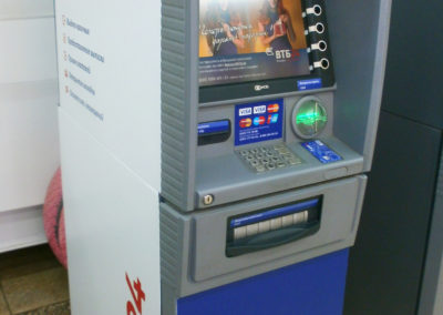 Оклейка банкомата матовой плёнкой с интерьерной печатью